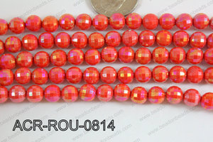 Acrylic Round faceted 8mm red ACR-ROU-0814