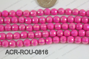 Acrylic Round faceted 8mm dark pink ACR-ROU-0816