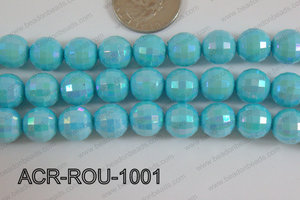 Acrylic Round faceted 12mm light blue ACR-ROU-1001