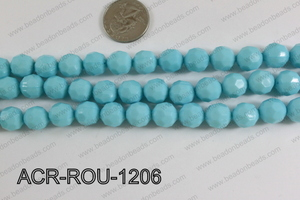 Acrylic Round faceted 12mm light blue ACR-ROU-1206
