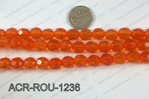 Acrylic Round faceted 12mm orange  ACR-ROU-1236