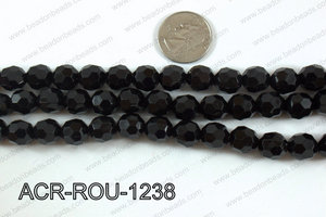 Acrylic Round faceted 12mm black  ACR-ROU-1238