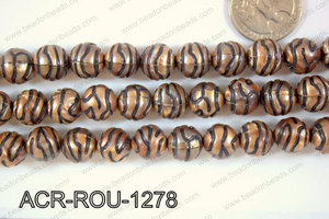 Acrylic Bead Round Brown/Black 12mm ACR-ROU-1278