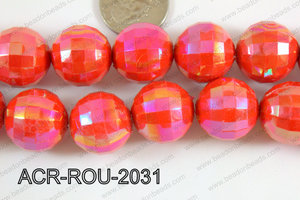 Acrylic Round faceted 20mm red ACR-ROU-2031