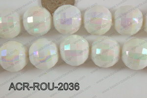 Acrylic Round faceted 20mm white ACR-ROU-2036