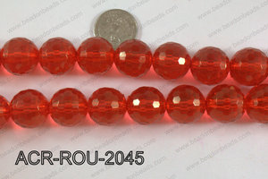 Acrylic Round 48cut faceted 20mm red ACR-ROU-2045