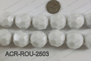 Acrylic Round faceted 25mm white  ACR-ROU-2503