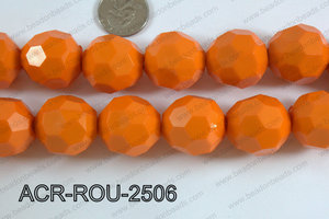 Acrylic Round faceted 25mm orange  ACR-ROU-2506