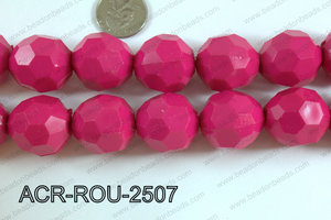 Acrylic Round faceted 25mm hot pink  ACR-ROU-2507