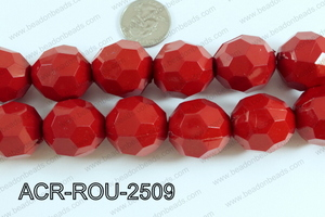 Acrylic Round faceted 25mm red  ACR-ROU-2509