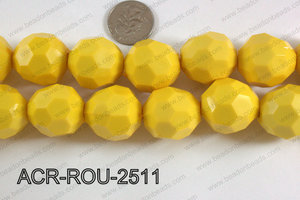 Acrylic Round faceted 25mm yellow  ACR-ROU-2511