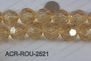 Acrylic Round Faceted Champagne 25mm ACR-ROU-2521