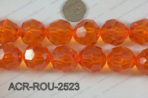 Acrylic Round Faceted Orange 25mm ACR-ROU-2523