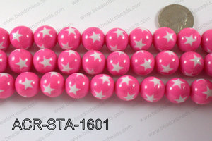 Acrylic Star Round Pink 16mm ACR-STA-1601
