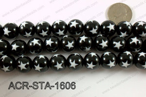 Acrylic Star Round Black 16mm ACR-STA-1606