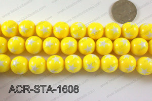 Acrylic Star Round Yellow 16mm ACR-STA-1608