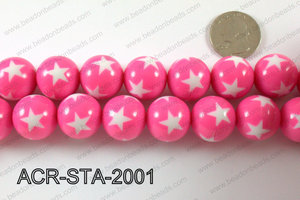 Acrylic Star Round Pink 20mm ACR-STA-2001