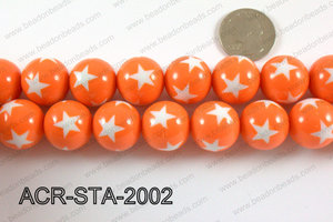 Acrylic Star Round Orange 20mm ACR-STA-2002