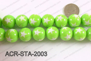 Acrylic Star Round Green 20mm ACR-STA-2003