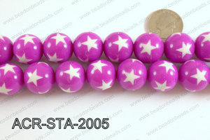 Acrylic Star Round Plum Purple 20mm ACR-STA-2005