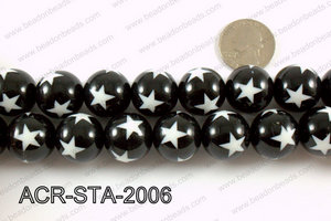 Acrylic Star Round Black 20mm ACR-STA-2006
