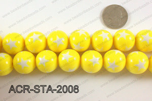 Acrylic Star Round Yellow 20mm ACR-STA-2008