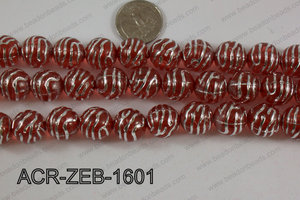 Acrylic Round Zebra 16mm red ACR-ZEB-1601