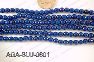 Blue Agate Round Faceted 6mm AGA-BLU-0601
