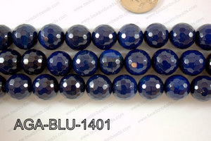 Blue Agate Round Faceted 14mm AGA-BLU-1401