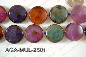 Agate- Multicolor Coin Faceted 25mm AGA-MUL-2501