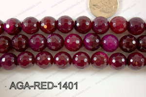 Red Agate Round Faceted 14mm AGA-RED-1401