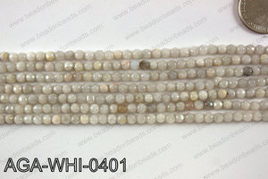 Round faceted white lace agate 4mm AGA-WHI-0401