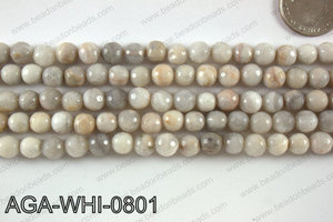 Round faceted white lace agate 8mm AGA-WHI-0801