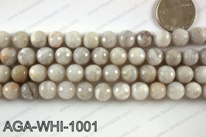 Round faceted white lace agate 10mm AGA-WHI-1001