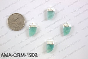 Amazonite charm with silver top, 10x18mm AMA-CRM-1902