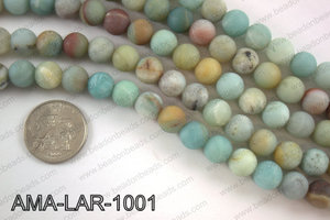 Large hole amazonite matte round 10mm AMA-LAR-1001