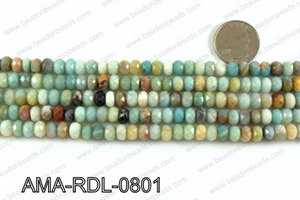 Rondelle faceted Amazonite beads 8mm AMA-RDL-0801