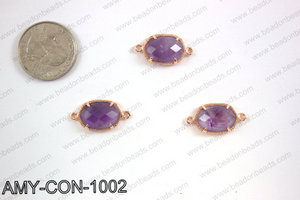Amethyst connector with rose gold trim, 14x23mm AMY-CON-1002
