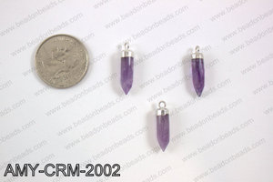 Amethyst Charm with silver top, 5x22mm AMY-CRM-2002