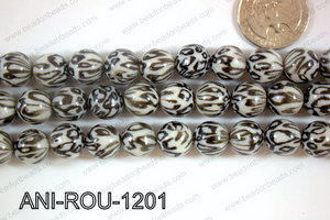 Animal Print Beads Round Black/White 12mm ANI-ROU-1201