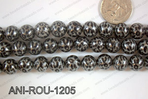Animal Print Beads Round Grey 12mm ANI-ROU-1205