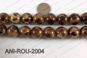 Animal Print Beads Round Brown 20mm ANI-ROU-2004