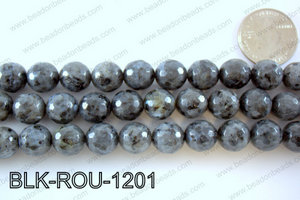Black Labradorite faceted round 12mmBLK-ROU-1201