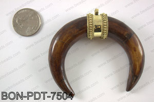 Bone crescent double horn pendant  BON-PDT-7504