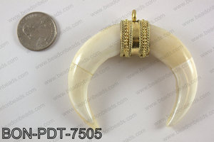 Bone crescent double horn pendant  BON-PDT-7505
