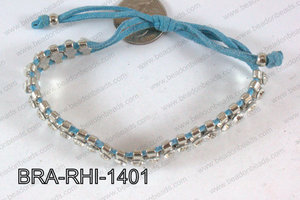 Rhinestone Bracelet with Blue Cord 14mm BRA-RHI-1401