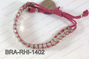 Rhinestone Bracelet with Hot Pink Cord 14mm BRA-RHI-1402