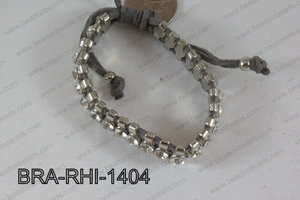 Rhinestone Bracelet with Grey Cord 14mm BRA-RHI-1404
