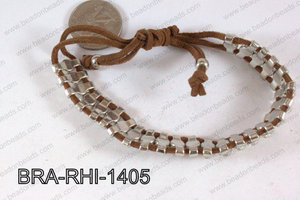 Rhinestone Bracelet with Brown Cord 14mm BRA-RHI-1405