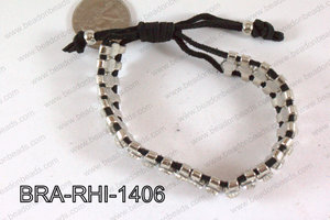 Rhinestone Bracelet with Black Cord 14mm BRA-RHI-1406